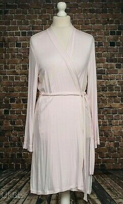 M&S Pink & Ivory Lace Trimmed Dressing Gown Wrap Robe Size 10 12 Soft Stretchy