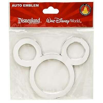 Disney Parks Mickey Mouse Ears Silver Chrome Car Auto Sticker Emblem Decal New