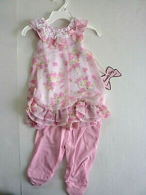 aa72ffb8d NWT Nannette Baby, Girl's 24 Months 2-Piece Summer Outfit, Pink Floral Cute