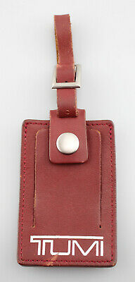 TUMI 'Alpha' Red / Silver Leather Luggage Tag - Large