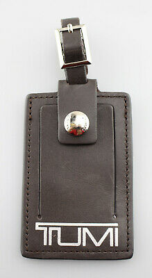 TUMI 'Alpha' Brown / Silver Leather Luggage Tag - Large