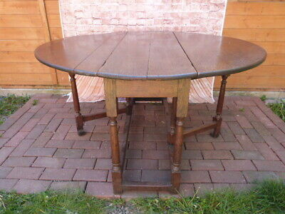 ANTIQUE 17th/18th CENTURY OAK PLANK TOP DROP LEAF DINING TABLE WITH DRAWER.