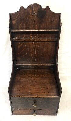 Antique 18th Century Oak Spoon Rack Candle Box and Salt Box