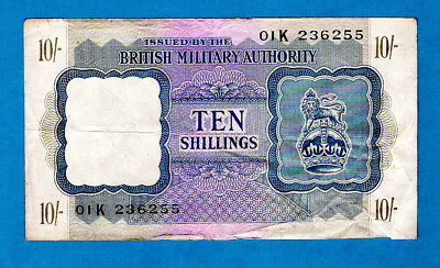 EX RARE England M5 10 Shillings BRITISH MILITARY AUTHORITY WWII 1943 XF/AU