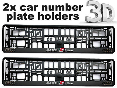 2 x 3D CAR Number Plate Surround Holder Frames BEST FIT for AUDI