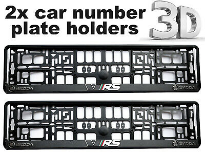 2 x 3D CAR Number Plate Surround Holder Frames BEST FIT for SKODA