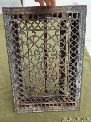 "Antique Cast Iron Victorian Heat Grate Floor Register 14"" x 21''"