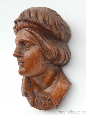 Antique Hand Carved - Solid Oak - Bust of a Young Christopher Columbus