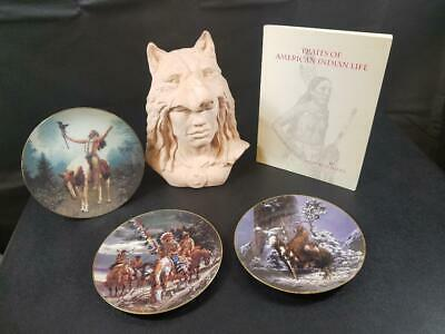 Vtg LOT:  Native American Indian Wolf Warrior Bust, 3 Warrior Plates w/COA, BOOK