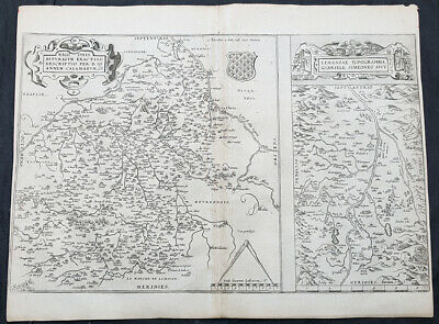 1575 Ortelius Antique Maps of Loire Valley, River & Alliers River France - 30993