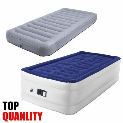 Single High Raised Air Bed Camping Mattress Airbed with Built In Electric Pump