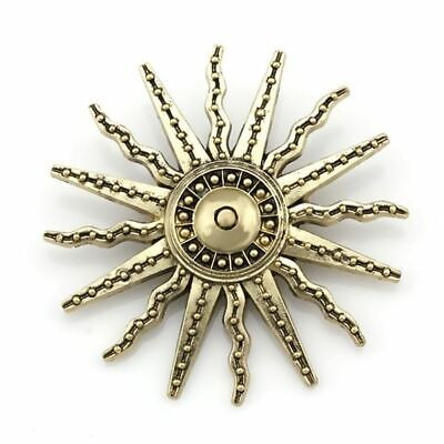 Vintage Badge Style Sun Brooch Pins For Men Women In Antique Brass Color Plated