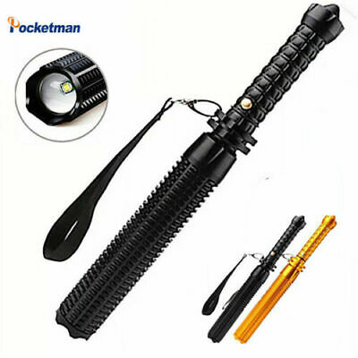Baseball Bat LED Flashlight T6 Tactical Zoomable Self Defense Light 5 Mode