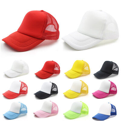 Women Men Summer Adjustable Mesh Hat Baseball Cap Plain Blank Curved Visor CA