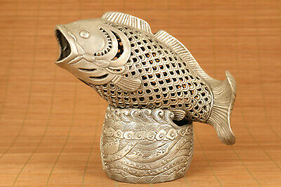Rare Old Copper plated silver handmade carving fish buddha incense burner gift