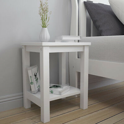 White Bedside Table Side Cabinet Lamp