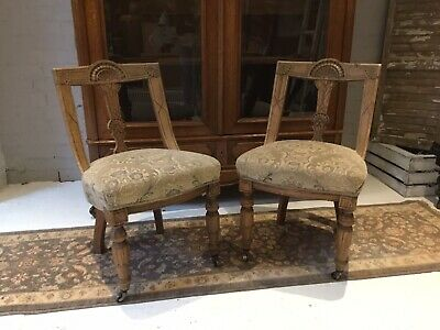Pair of Antique Carved Oak Dining/bedroom Chairs