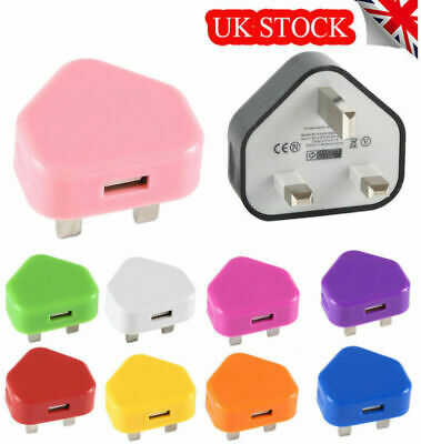 Mains Wall 3 Pin Plug Adaptor UK Charger AC Power USB Port For Phones Tablets UK