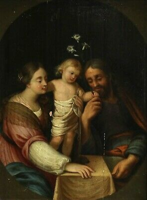 17th CENTURY FRENCH OLD MASTER OIL ON PANEL - THE HOLY FAMILY WITH THREE LILLIES
