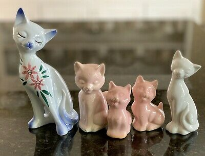Cat Ornaments Kitsch Vintage Ceramic X FIVE