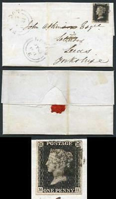 Penny Black (MH) Four margins plate 5 on entire from Brandon to Leeds