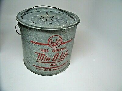"Vintage Frabill's Full Floating Min-O-Life 480 Bait Bucket  9"" tall 9"" round"