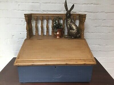 Antique Pine Table Top Writing Slope Balustrade