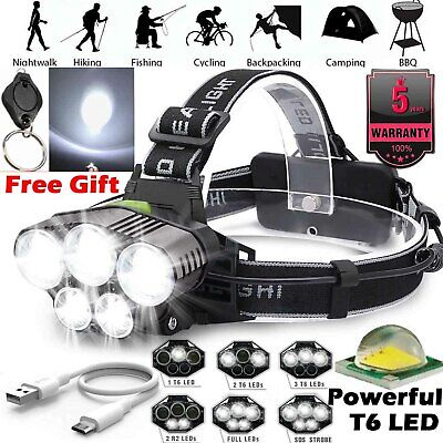 Hihg Power 100000LM T6 LED Headlamp Headlight Torch Rechargeable Flashlight Camp