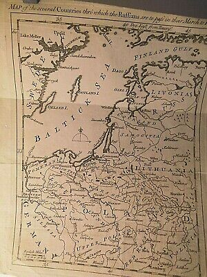 Russia Invades Towards Prussia: 18Th Century Map: Easter Baltic:antique Engraved