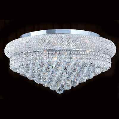 """French Empire 12 Light Chrome Finish and Faceted Crystal 24"""" Round Flush Mount"""