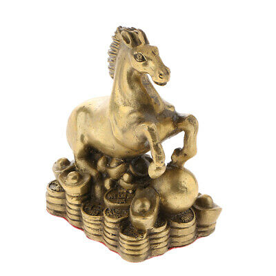 Solid Brass Chinese Twelve Zodiac Animal Figurine Ornament Luck Charm Horse