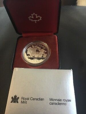 1981 CANADA UNC PROOF SILVER DOLLAR - Canadian Pacific Railway Centennial (CASE)