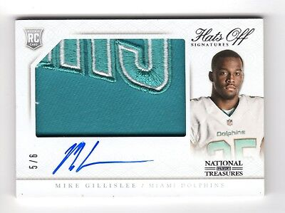 Mike Gillislee Nfl 2013 National Treasures Rookie Hats Off Sign Logo /6 Dolphins