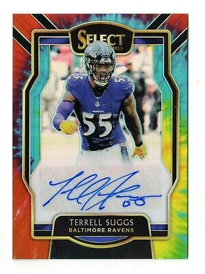 Terrell Suggs Nfl 2018 Select Signatures Prizm Tie Dye #/10 (Ravens,Cardinals)