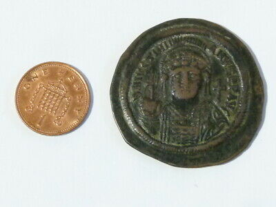 JUSTINIAN I 539/40 Byzantine Ancient Bronze Coin 41mm LARGE #Q31