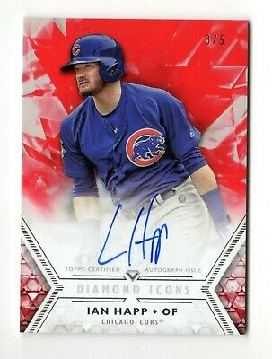 Ian Happ Mlb 2018 Topps Diamond Icons Autograph Red # 3 / 5 Rare (Chicago Cubs)