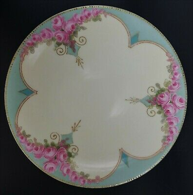 """Antique Jean Pouyat Limoges JPL France Hand Painted Roses Plate  8-1/2"""""""