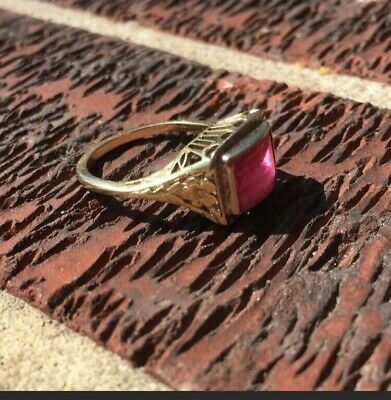 14K SOLID W. GOLD Awesome Antique Art Deco Ruby Ring Sz 6 RARE MINT