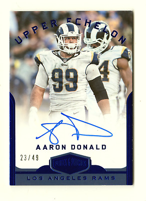 Aaron Donald Nfl 2018 Plates And Patches Upper Echelon Auto Blue #/49 (Rams)