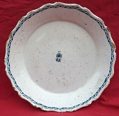BORDEAUX Antique French Hand Painted Faience Plate Flower Blue White Late 18th C