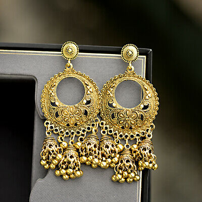 Vintage Women's Oxidized Metal Gold Carved Flowers Jhumka Jhumki Drop Earrings