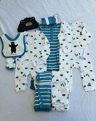 31222885c Carter's baby boy 11pc lot NWT newborn and 3 months camping bear blankets  cap