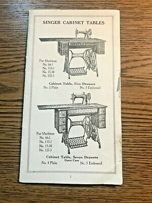 Singer Sewing Tables Cabinets ~ Sales Design Brochure 16 Pages ~ Illustrated