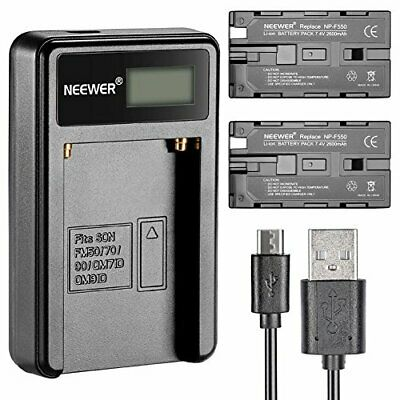 Neewer® Micro USB Battery Charger + 2-Pack 2600mAh NP-F550/570/530 Replacement,