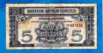 England M20a 5 Shillings ARMED FORCES 2nd Series W/Strip Prefix CC/4 1948 RARE