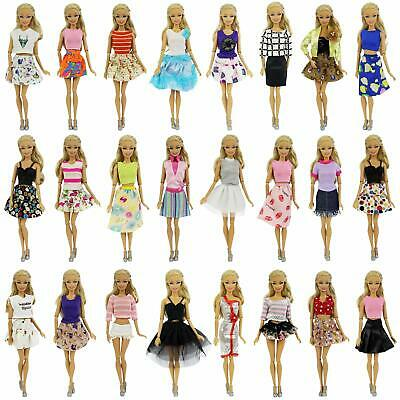 """5 Sets Clothes for 11.5"""" Girl Doll Mix Shirt +Pants +5 Pairs Shoes Acces Random"""
