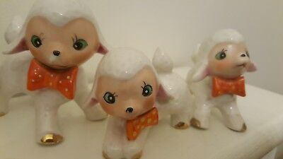 VINTAGE Kitsch Lambs trio With Polka Dot Bow Tie Figures Retro 1950s