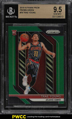 2018 Panini Prizm Green Prizms Trae Young ROOKIE RC #78 BGS 9.5 GEM MINT (PWCC)