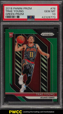 2018 Panini Prizm Green Prizms Trae Young ROOKIE RC #78 PSA 10 GEM MINT (PWCC)