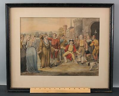 19thC Antique Shakespeare Play Measure for Measure English Watercolor Painting